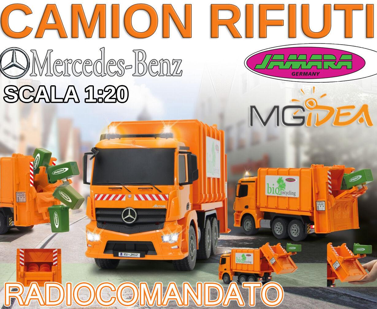 CAMION RADIOCOuomoDATO SPAZZATURA MERCEDES ANTOS JAMARA 1  20 2,4 GHZ LUCI E SUONI  presa di marca