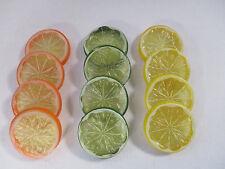 Artificial Fruit Slices Orange Lemon Lime 12 slices, 4 of each Decoration