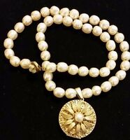 Beautiful Signed Miriam Haskell Baroque Pearls Necklace Locket Pendant Jewelry