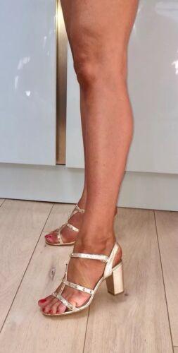 37 Reptile Geiger Kurt 4 Textured Heel Carvela Gold Studded Block Sandals Strap PBUndxId