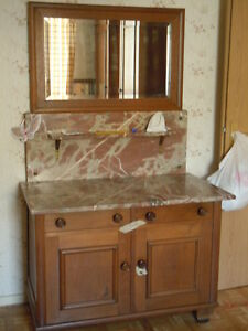 Alte Kommode Waschtisch Holz Marmorplatte Mit Spiegelaufsatz