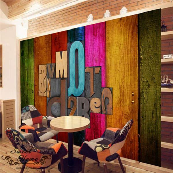 3D Mutilple color Wooden Symbol Wallpaper Full Wall Mural Photo Printed Home Dec