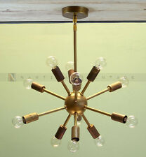 Antique Brass Mid Century 12 Arms Sputnik chandelier starburst light Fixture