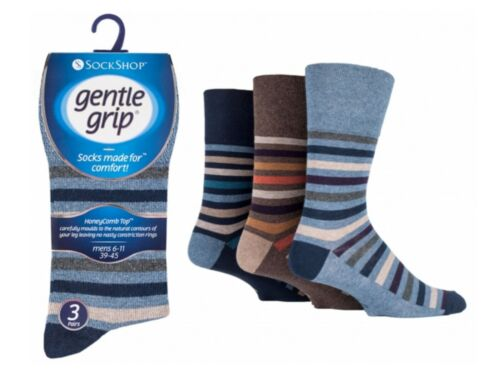 a righe somrj 95H3 12 Da Uomo Gentle Grip ® Cotone Non Elastico Calze UK 6-11