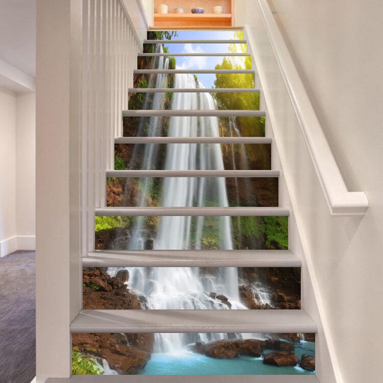 3D Wasserfall 6136 Stair Risers Dekoration Fototapete Vinyl Aufkleber Tapete DE
