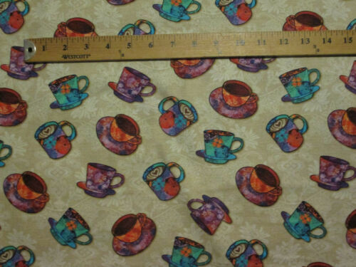 MOD COFFEE CUPS DRINKS BRIGHT COLORS TAN COTTON FABRIC FQ