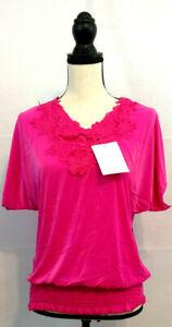 Top-Blouse-Womens-Size-XL-10-12-Dolman-Peasant-Fuscia-Pink-Lace-Stretch-Waist