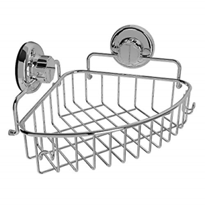 Details About Chrome Corner Shower Caddy Suction Cup Bathroom Storage Stainless Steel Basket