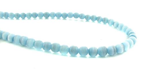 Cats Eye Fiber Optic 4MM Medium Turquoise Beads 4CE09