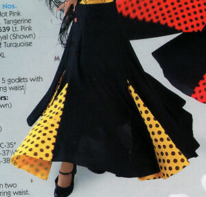 NWT-FLAMENCO-SKIRT-Gold-DOTTED-ADULT-Double-GODETS-Very-Full