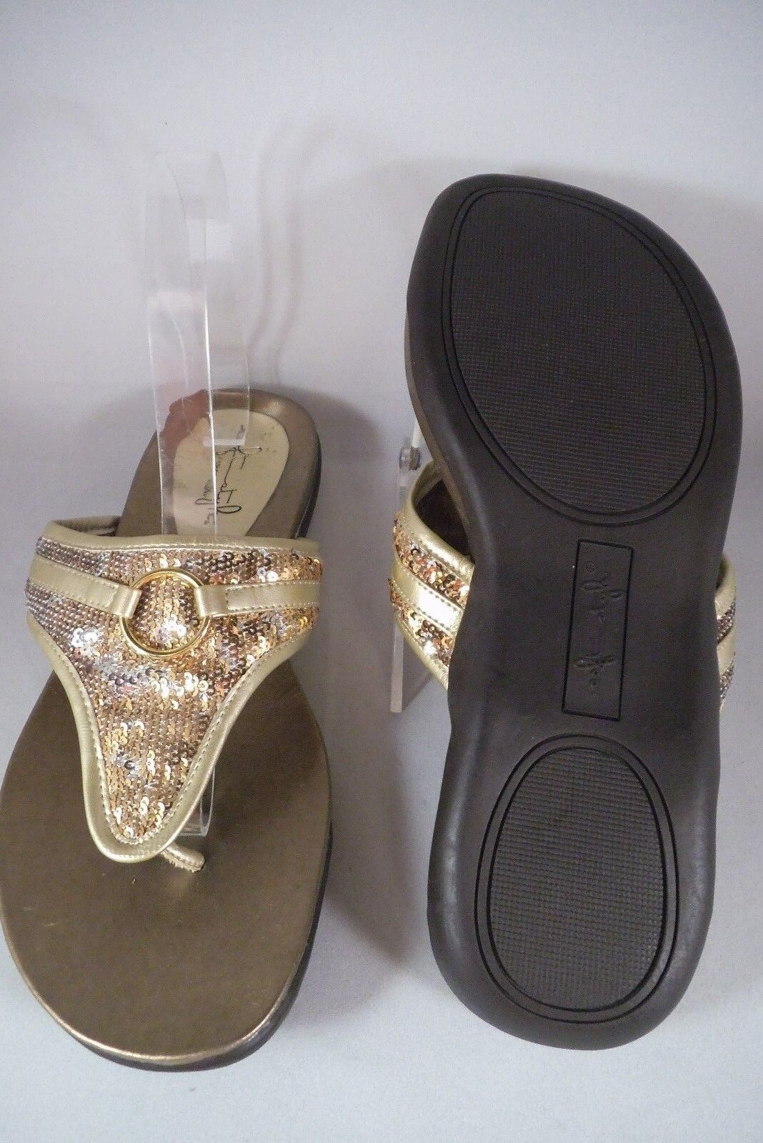 NEW SOFT STYLE HUSH HUSH HUSH PUPPIES GOLD SEQUIN THONG SANDAL 9 MED cd92a0