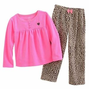 NWT-Carter-039-s-GIRLS-2PC-FLEECE-PAJAMAS-HOT-PINK-TOP-W-LEOPARD-PANTS-12M