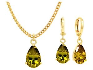 Real-18K-yellow-gold-plated-drop-dangle-raindrop-necklace-earrings-green-gems