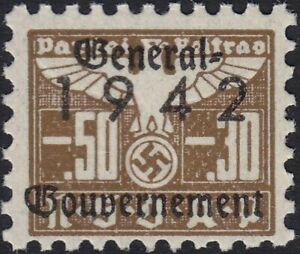 Stamp-Germany-Revenue-Poland-WWII-1942-3rd-Reich-War-Era-Party-Due-GG-00530-MNH