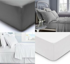 Luxury-100-Egyptian-Cotton-Grey-White-Flat-Sheets-Bed-Sheet-Single-Double-King