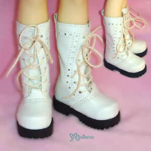 Mimiwoo MSD 1//4 Bjd Doll Shoes 7.5cm High Hill Boots White Foot Size 5.6cm