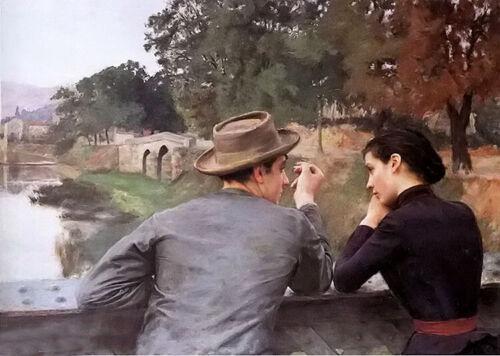 soir dautomne autumn evening lovers les amoureux Oil painting emile friant