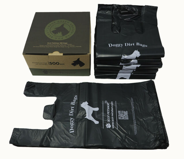 Scot-Petshop 500 Dark Green Dog Poo Bags Large Dog Waste Poop Bags