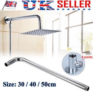 30-40-50cm-Chrome-Brass-Shower-Bathroom-Wall-Mounted-Shower-Head-Extension-Arm-D