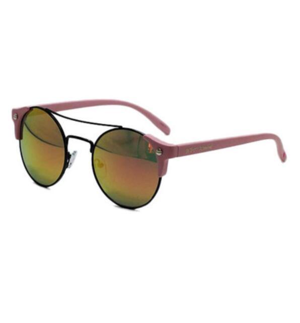 Betsey Johnson Pink Brow Bar Mirrored Round Sunglasses 100% UV Protection