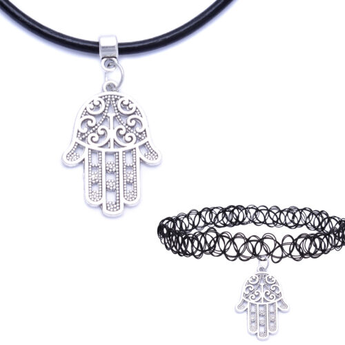 Black Real Leather Cord Silver Charm Tattoo Choker Necklace Pendant For Women