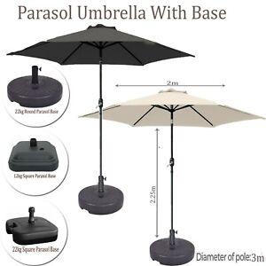 2M-Cream-Black-Round-Portable-Parasol-Umbrella-w-Base-Tilt-Handle-Patio-Garden