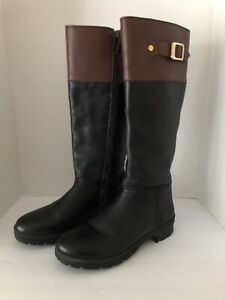 hunter cirano size 8 black brown leather knee high boots