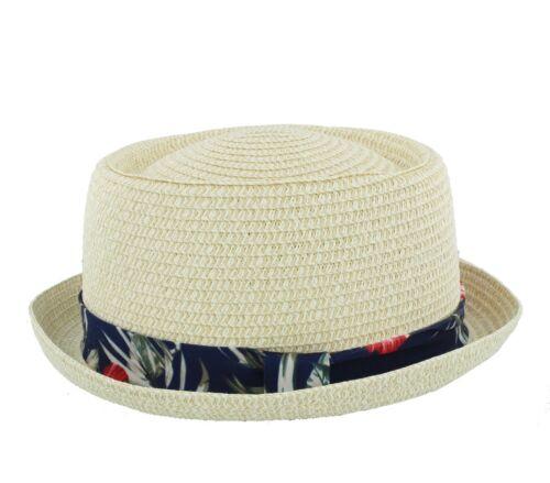 Summer Straw Pork Pie Hat With Hawaiian Print Band S229