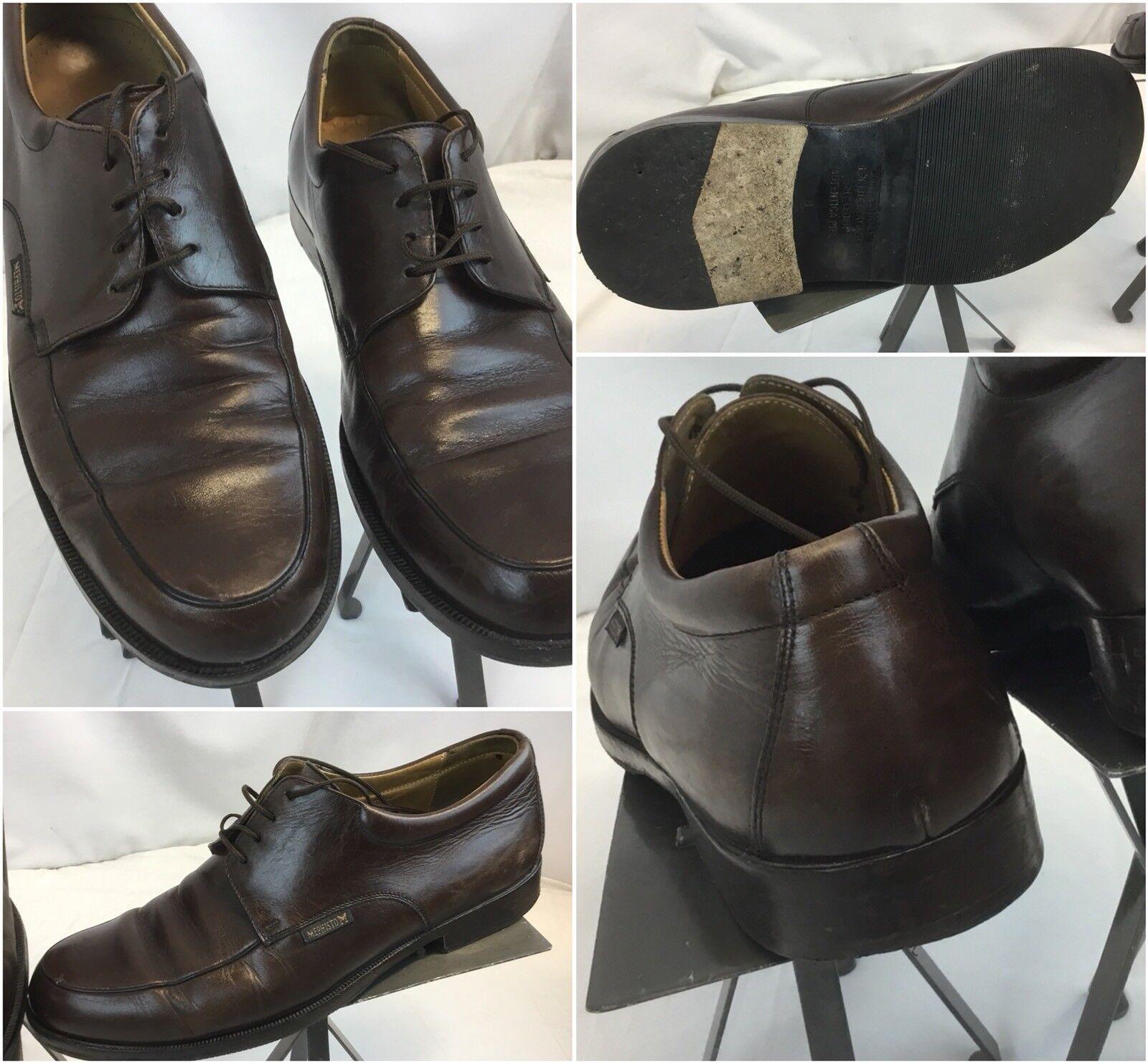 Scarpe casual da uomo Mephisto Oxford Shoes Sz 8 Brown Lace Leather Made In Portugal EUC YGI G8
