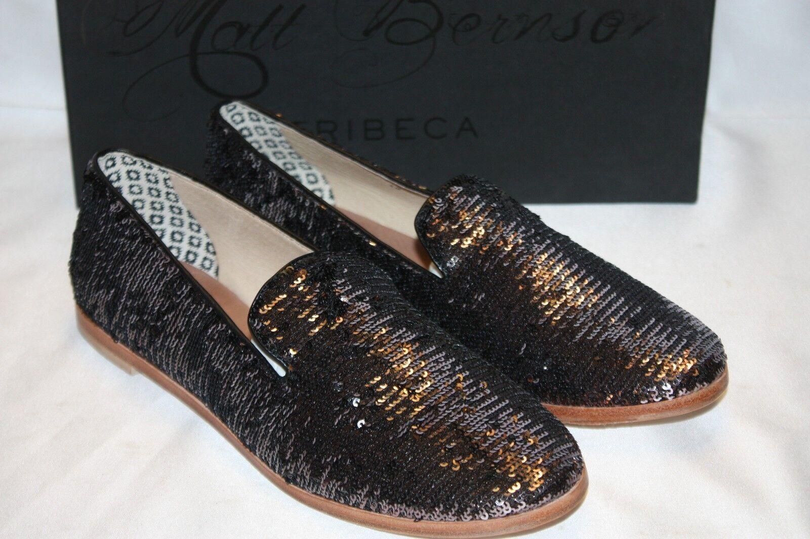 NEW  NIB  MATT BERNSON Gunmetal Sequin GITANES Smoking shoes Loafers 8 9.5  168