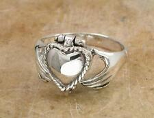 UNIQUE STERLING SILVER CLADDAGH POISON RING size 8  style# r0788
