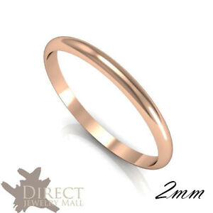 2mm 9ct Real Rose Gold D Shape Medium Weight HIS HER Plain Wedding ... a6f369033023