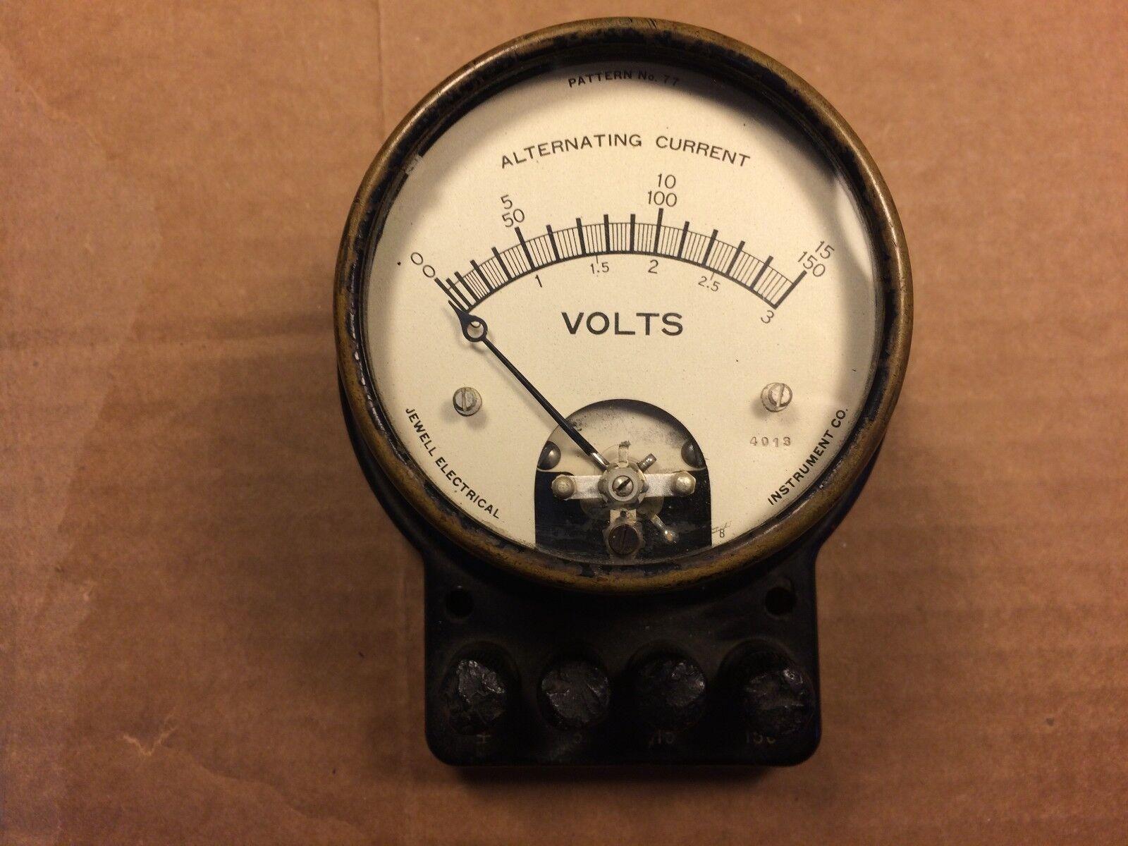 Antique Jewell AC Volts Meter 0-150 VAC Pattern No 77 Gauge w  Terminals