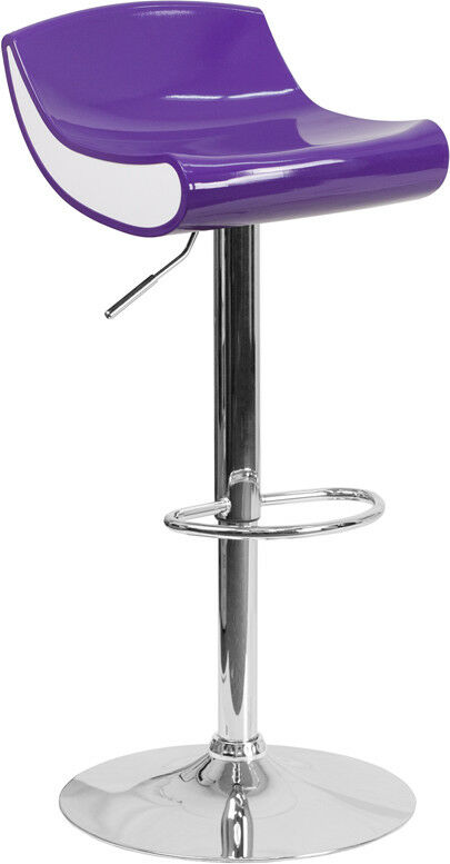 Contemporary violet and blanc Adjustable Height Plastic Barstool with Chrome ...