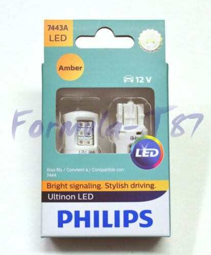 Philips Ultinon LED Light 7443 Amber Orange Two Bulbs Rear Turn Signal Replace