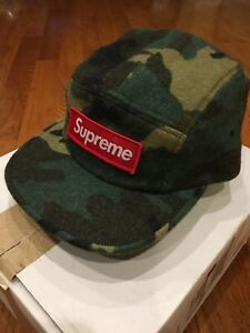 16e82e59194 Supreme Camo Wool Camp Cap Green Woodland Box Logo Hat Hats Caps ...