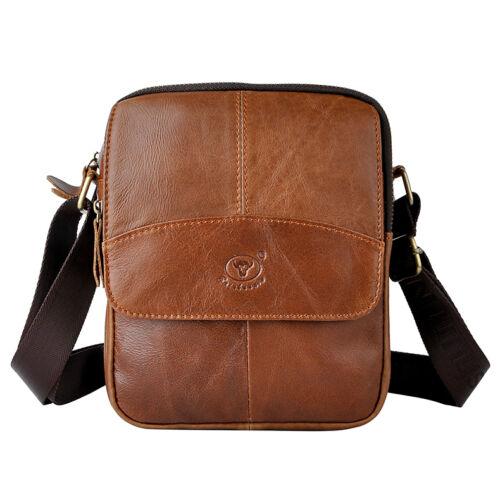 """Men/'s Genuine Leather Cowhide Vintage Small 8/"""" Crossbody Shoulder Messenger Bag"""