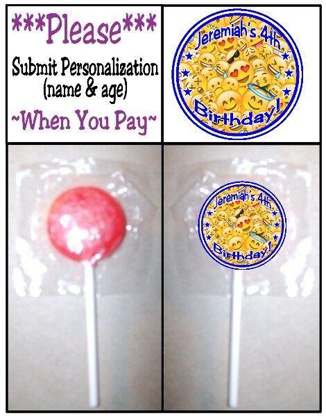 24 Emoji Emoticons Birthday Party Baby Shower Lollipop Stickers Invitation Seals