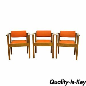 Image is loading 3-Vintage-Kimball-Mid-Century-Modern-Oak-Stacking-  sc 1 st  eBay & 3 Vintage Kimball Mid Century Modern Oak Stacking Dining Arm Chairs ...