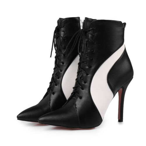 Ladies Pointed Shoes Synthetic Leather High Heel Zip Up Ankle Boots US Size b192