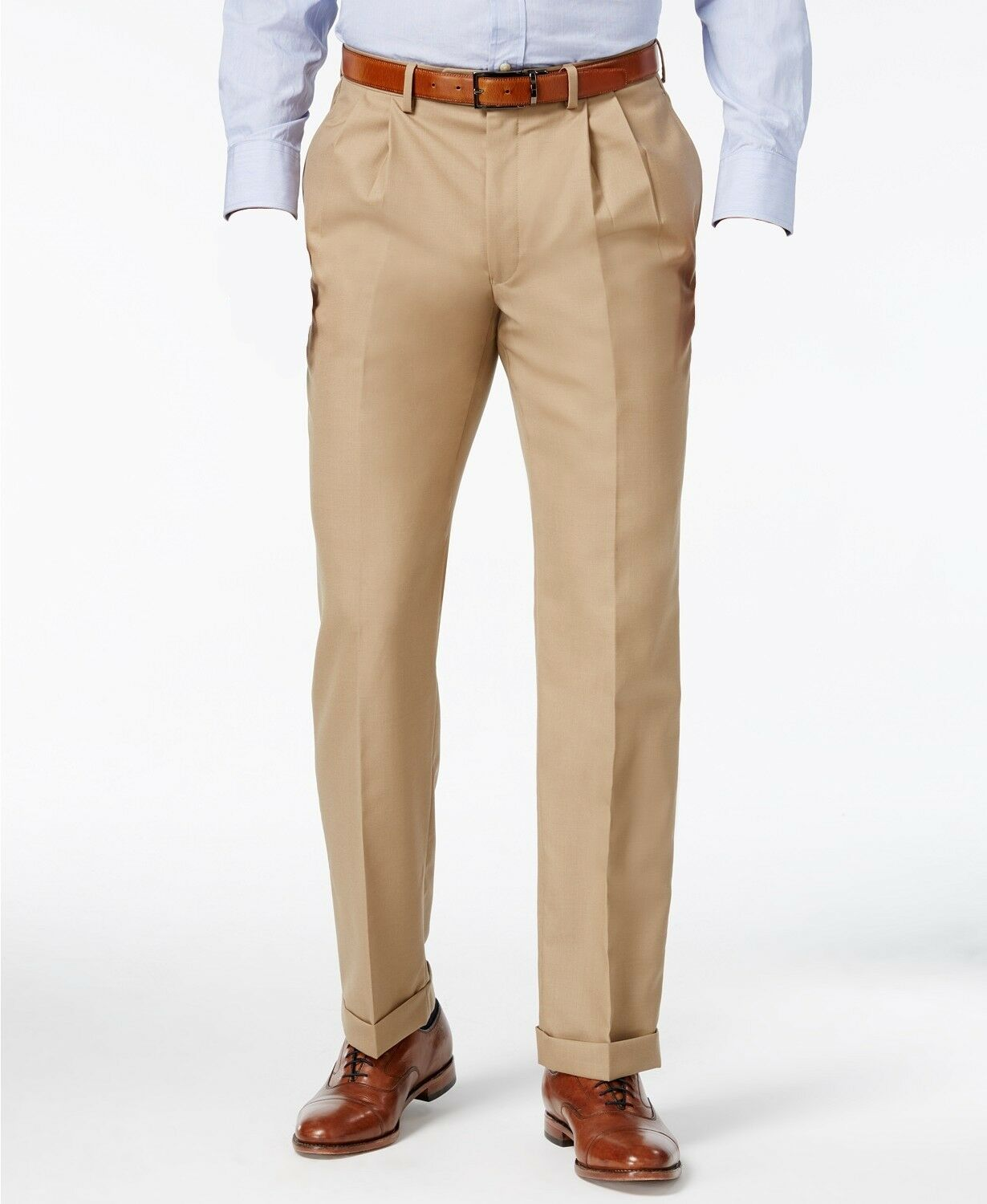 RALPH LAUREN Men SLIM Fit Trousers BEIGE PLEATED DRESS PANTS 40W 34L