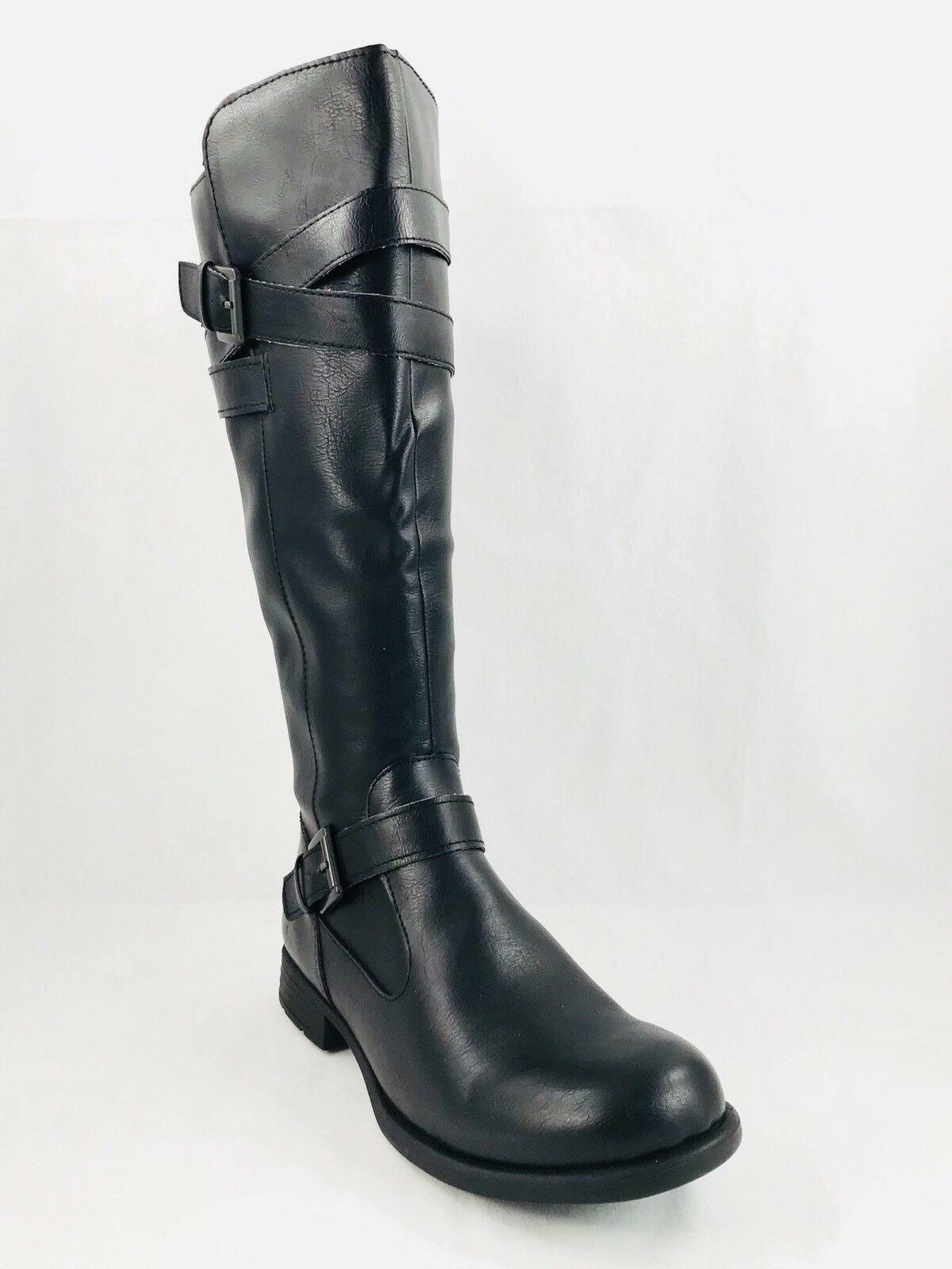 Born Concepts B.O.C. Mays Riding Boots Side Zip Black Women Sz 8.5