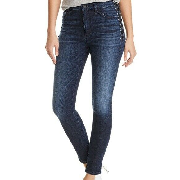 Hudson Barbara Lace-Up Ankle Skinny Jeans in Moonlight Size 26 BNWT Orig