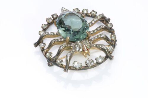 Vintage 1940's Green Crystal Spider Brooch