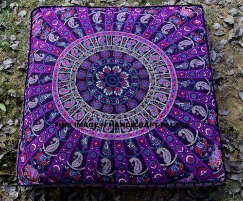 Éléphant MANDALA Square étage Oreiller large Ottoman Footstool Couverture Hippie Indian Sofa