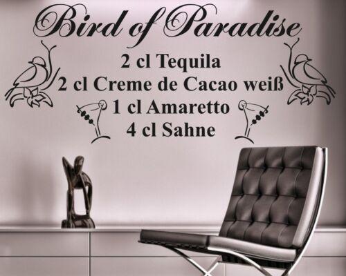 Wandtattoo Cocktail Rezept Drink Bird of paradise Bar Kneipe Partykeller Lounge