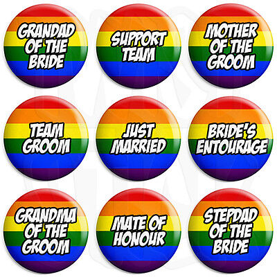 25mm LGBT Wedding Button Badge with Fridge Magnet Option Maid of Honour