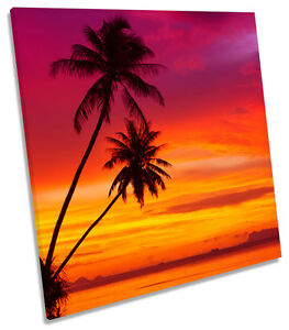 Sunset Palm Trees Tropical Landscape Poster Wall Art Print Card or Canvas