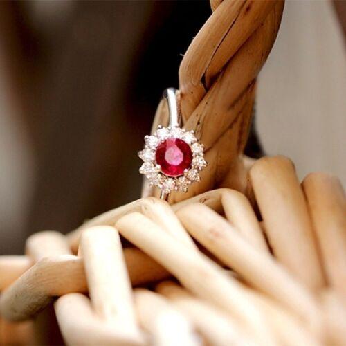 Vintage Ovale Cut RUBY 925 SILVER FILLED Jewelry Femmes anneaux de mariage Taille 6-10