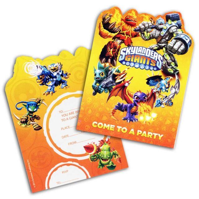 6 skylanders giants video game party invites invitations plus envelopes - Video Game Party Invitations